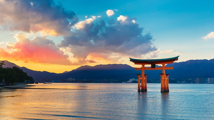 Vue sur le grand torii de Miyajima